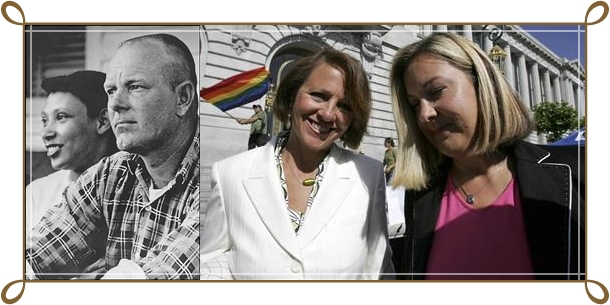 Left: Mildred and Richard Loving, married June 1958. Right: Erin-Kate Whitcomb (r) and Michele Rutherford, married June 2008 (Reuters/Erin Siegal).